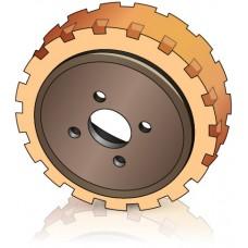 250 - 90 мм Ведущее колесо 4 отверстия для вилочных погрузчиков электротележек, штабелеров - Изображение